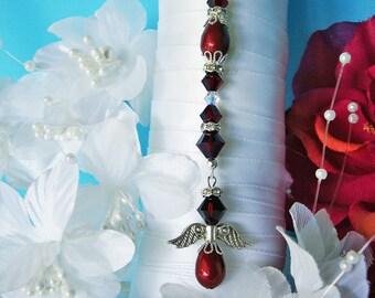 Burgundy Wedding Bouquet Charm Swarovski Crystal and Pearl Angel Bouquet Charm