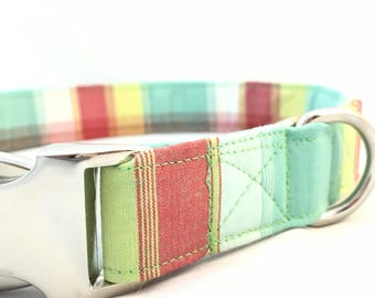 Plaid Dog Collar - Blue Madras dog collar - Preppy Plaid dog collars - Easter Plaid Dog Collar - Modern Plaid Dog Collar - Spring Collar