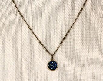 Round Druzy Necklace, Ocean Blue Druzy, Druzy Jewelry, Druzy Earrings, Druzy Ring, Druzy, 3 Piece, Gift Set, Sale