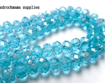 Aqua Blue Faceted Crystal Glass Rondelle Bead Strand 6x4mm    -D4D1-2