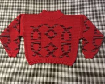1990's, semi-cropped, mock turtleneck, sweater, in red, with green striped, designs, Women's size Small/Medium