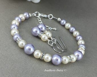 Purple Bracelet Lavender Pearl Jewelry Gift for Her Swarovski Bracelet and Earrings Bridesmaid Maid of Honor Mother's Day Gift for Momss