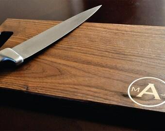 Cutting Board Personalized Inlay Cutting Board Engraved 11x15 Modern Circle Monogram Cutting Board CB1115BAH