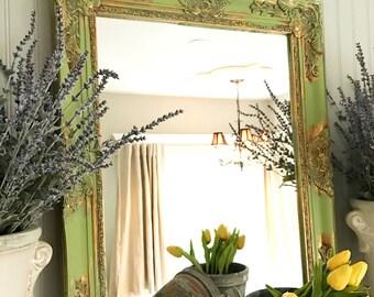 Green Shabby Chic Wall Mirror