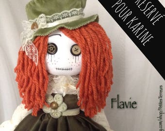 RESERVED for Karine Do NoT BuY! FLAVIE OOAK Ragdoll 18'' Steampunk handmade doll soft art doll Collection Signed and Nubered