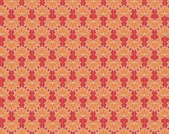 Minshan A119-2 Orange Lotus Flower Lewis & Irene Patchwork Quilting Fabric