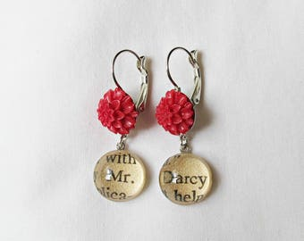 Jane Austen Gift Jewelry - Pride and Prejudice Mr Darcy - Jewellery Red Botanical Floral