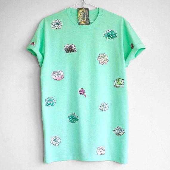S SUCCULENT T SHIRT. 100% cotton T shirt with succulents. Mint green t shirt. Teal green t shirt.