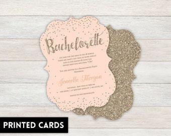 Bachelorette Party Invitations,  Personalized, Bachelorette, Bachelorette party, printed Bachelorette party invite, Champagne peach and gold