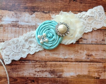 wedding Garter/ KEEPSAKE ONLY - ONE Garter- flower girl headbands / baptism headband