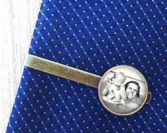 Personalized Wedding Gift, Custom Photo Tie Clip, Customized Photo Tie Bar, Groom Gift Ideas , Personalised Groom Wedding Gift, Gift for Him