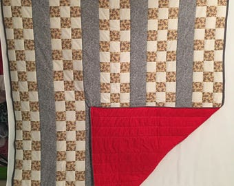 "65"" x 83 1/2"" Sock Monkey Print Handmade Quilt"