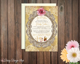 Baby Shower Invitation - Princess Belle - Beauty and the Beast Damask and Frame