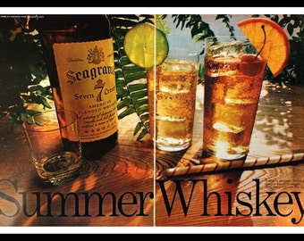 """1968 Seagrams 7 Crown Whiskey Ad - Wall Art - Home Decor - Bar - Garage - Double Page - """"Summer Whiskey"""" - Retro Vintage Liquor Advertising"""