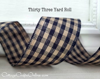 """Wired Ribbon, 1 1/2"""", Navy Blue Beige Tan Gingham Check - 33 Yard Roll - """"Country Gingham"""" Tea Dye Fall Wire Edged Ribbon"""