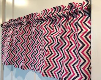 Navy and Pink zig zag chevron curtain valance
