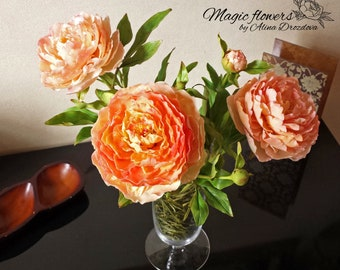 Peach peony Clay flowers Cold porcelain flower Home decor Unusial gift Photo decor Handmade flower Anniversary gift Floral arrandements