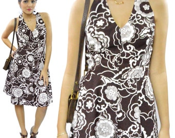 Vintage 70s Floral Brown Halter Top Boho Dress