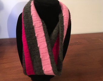 Upcycled cashmere infinity scarf.#41  Pink and grey felted infinity scarf.