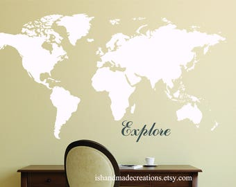 Vynil Map USA Vinyl Wall Decal large size custom colors