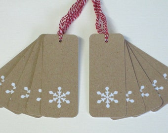 Christmas Gift Tags 10/Pk - Snowflake Gift Tags - Holiday Gift Tags - Gift Tags Recycled card