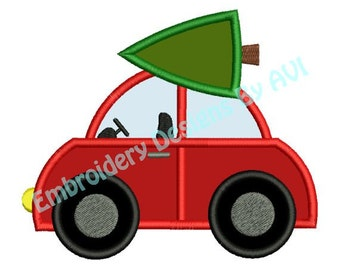 Christmas Tree Car Applique Machine Embroidery Designs 4x4 & 5x7 Instant Download Sale
