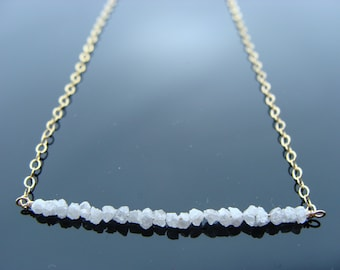 Genuine White Raw Rough Diamond 14k Gold Filled or Sterling Silver Necklace
