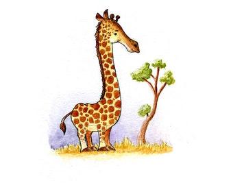 Giraffe on the Savannah Watercolor