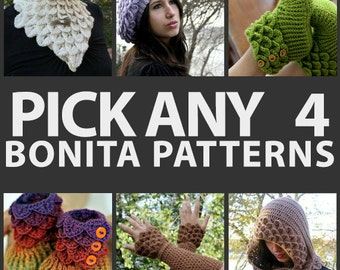 CROCHET PATTERN: Any Combination of 4 Bonita Patterns (Bundle) - Permission to Sell Finished Product
