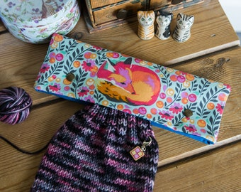DPN holder, cosy or case for 8 inch dpns made with Tula Pink cotton in 'Fox Nap' print from her Chipper collection, with metal press studs