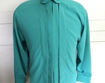 1980s Vintage Green Loretta Bloom High-Neck Blouse