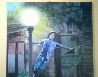 Painting,copy from photo known film of cinema.(Singin in the Rain).