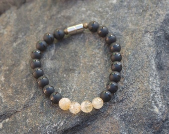 "Men's Bracelet, Citrine and Black Agate Bracelet, ""Yellow Jacket"""