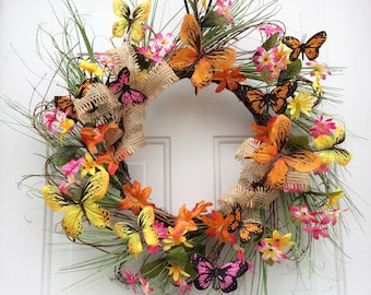 Butterfly Wreath, Summer Wreaths for Front Door, Summer Wreath, Natural Front Door Wreath