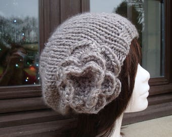Hat grey taupe, warm and soft knit, crochet flower