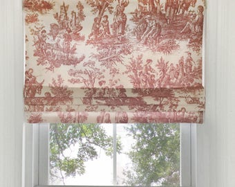 Faux Roman Shade in Country Life Toile Fabric | Faux Flat Roman Shade Valance | Faux Roman Shade Valance | Mock Roman Valance
