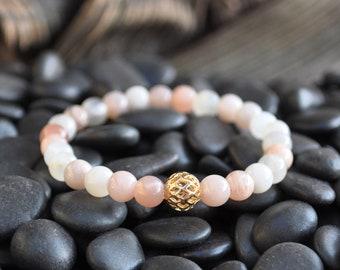 Moonstone Beaded Bracelet, Natural Moonstone, Gemstone Beaded Bracelet, Everyday Beaded Bracelet For Women