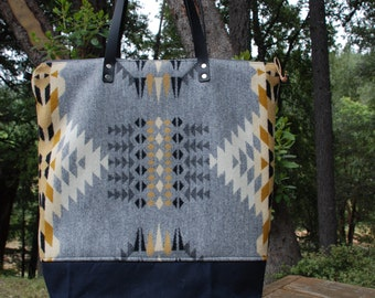 Pendleton Wool and Waxed Canvas Tote Bag With Zippered Closure and Leather Straps