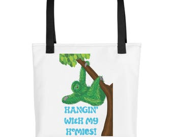 Green Sloth Hangin with my homies purse, diaper bag, carry on, Tote bag