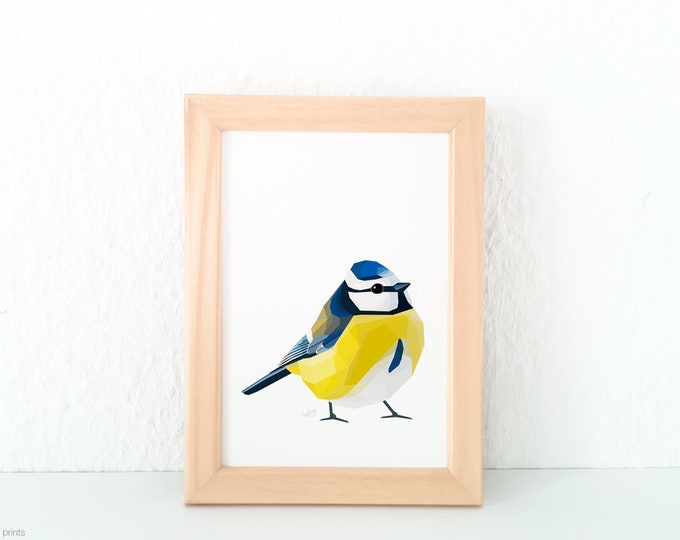 Blue tit art, Modern bird art, Blue tit illustration, Cute bird decor, Art for the lounge, Bird lovers, Bird art, Summer art, British birds