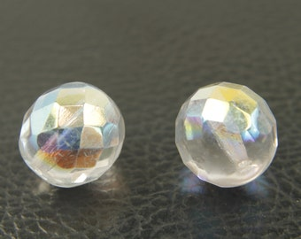 Fire polished, 12mm, 20 pcs, 1.4mm hole, Crystal AB, Faceted round, Czech glass beads, 00030/28701, FP12-08