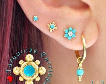 14K Tiny Turquoise Beaded - Stud Earring - Flat Back Earring - Cartilage Earring