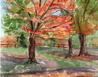 Fall landscape Original watercolor painting