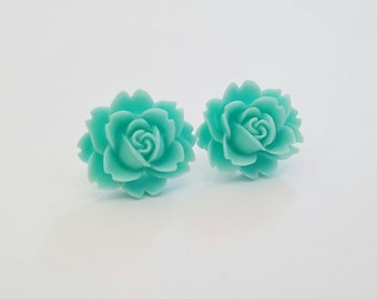 Cabbage Rose Beautiful Bloom Flower Earrings Aqua