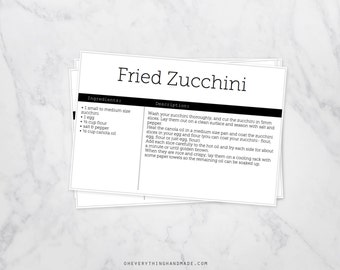 Editable Recipe Card, back and white, 4x6 card, downloadable PDF