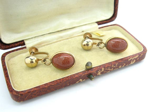 Vintage Goldstone Oval Dangle Earrings by AVON NR