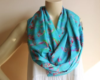 Sea Horse Scarf-Turquoise Infinity  Scarf/Under the Sea Scarf