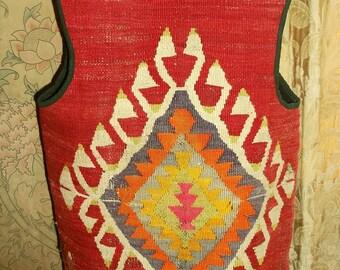 Vintage Handwoven Kilim Tapestry Large Vest