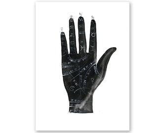 Palmistry Watercolor Giclee Fine Art Print Poster of Original Painting