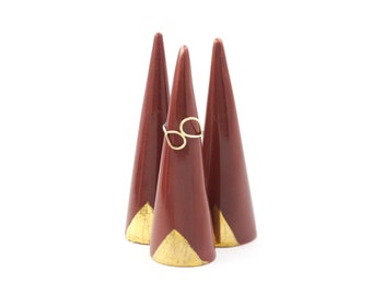 Modern Ceramic Ring Cone Holder Storage Jewelry Organization Display: Oxblood Red Gold Triangle